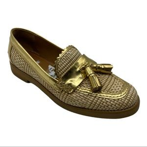 Tory Burch Woven Gold Trim Tassel Loafers Size 7M